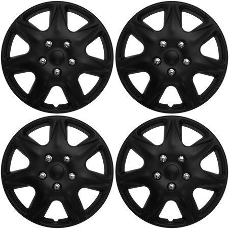 """Cover Trend (Set of 4),  (ONLY FITS 17"""" inch wheels that take hubcaps) Matte Black Hub Caps Wheel Covers"""