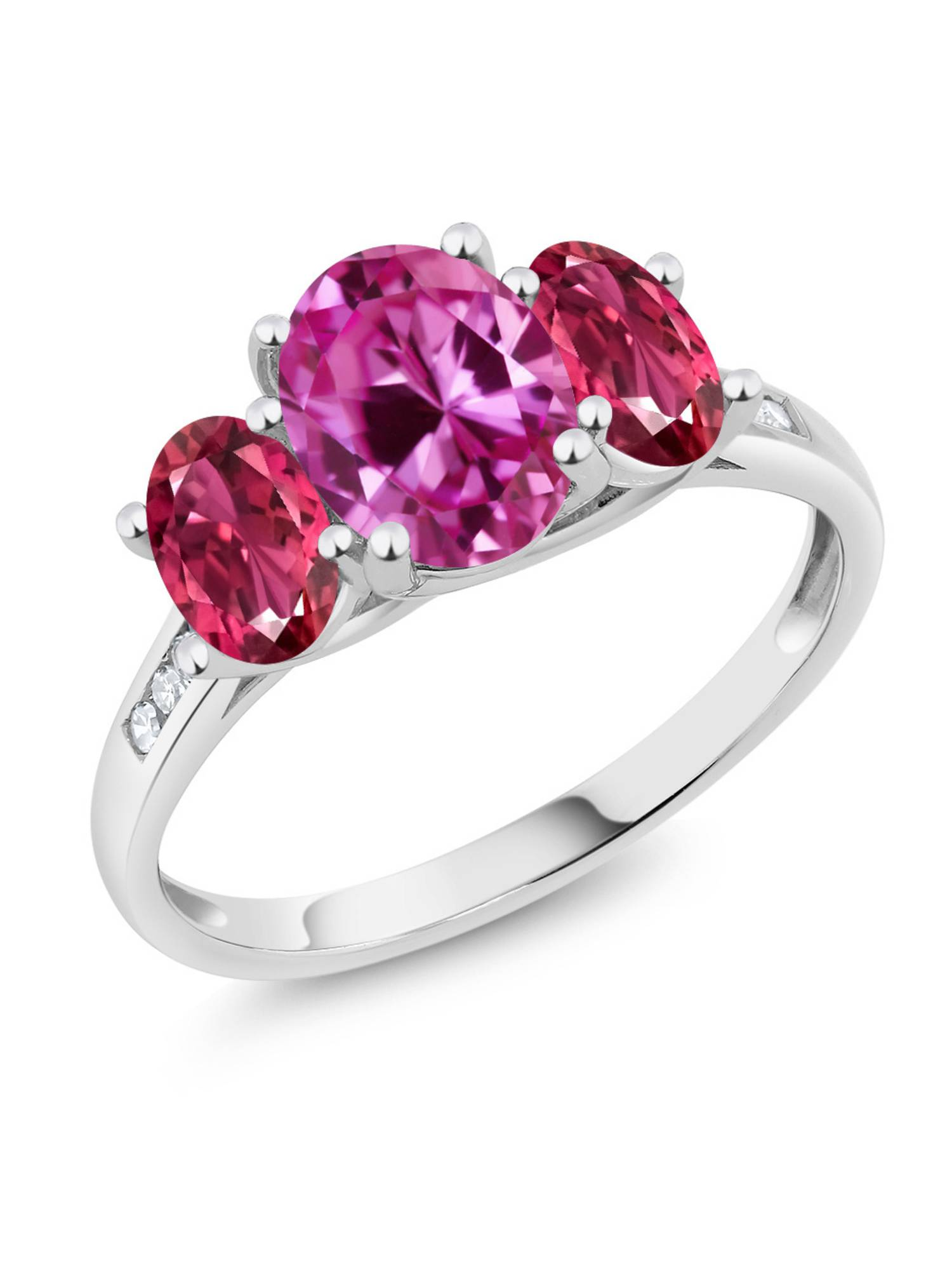 10K White Gold 2.41 Ct Oval Pink Created Sapphire Pink Tourmaline 3-Stone Ring by