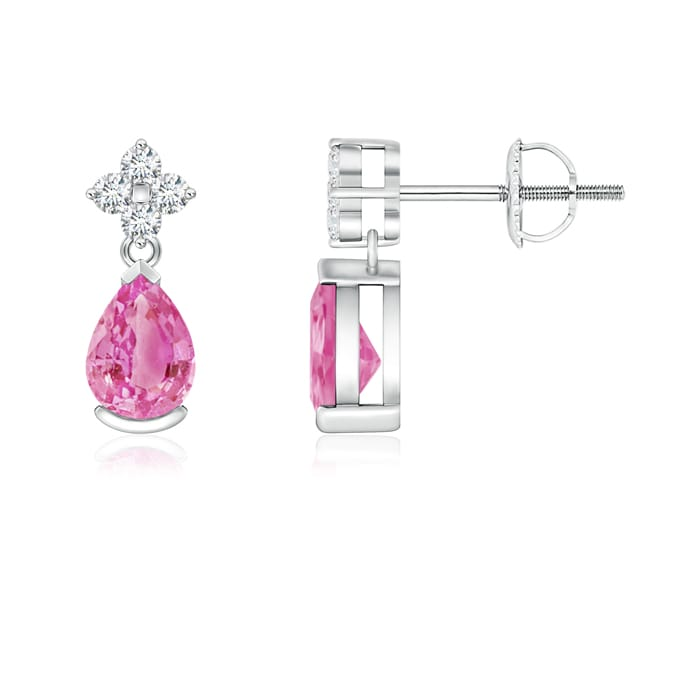 Mother's Day Jewelry Pear Pink Sapphire Teardrop Earrings with Diamond Flower in 950 Platinum (6x4mm Pink Sapphire)... by Angara.com