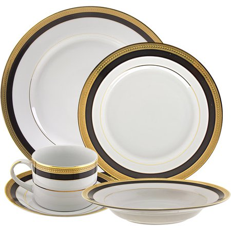10 Strawberry Street Sahara Black 20-Piece Dinnerware Set with Cup and Saucer, White with Black and Gold (Cup & Saucer Victoria China)