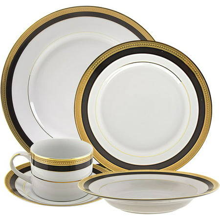 (10 Strawberry Street Sahara Black 20-Piece Dinnerware Set with Cup and Saucer, White with Black and Gold Border)