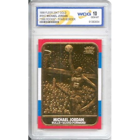 MICHAEL JORDAN 1986 Fleer ROOKIE 23KT Gold Card R/W/B Border Graded GEM MINT 10 1986 Fleer Basketball Cards