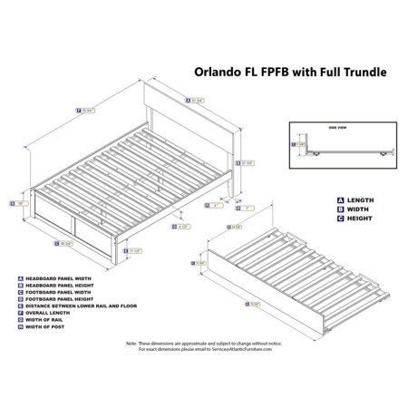 Atlantic Furniture Orlando Full Platform Panel Bed with Trundle in Gray - image 4 of 5