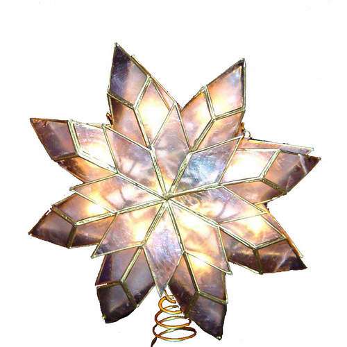 Kurt Adler 10-Light Capiz Clear Star Treetop