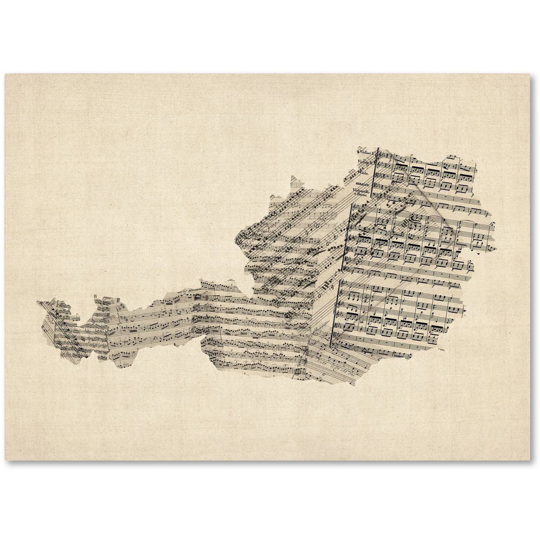 """Trademark Fine Art """"Old Sheet Music Map of Austria"""" Canvas Art by Michael Tompsett"""