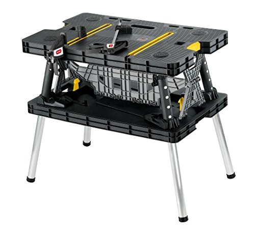 Keter Folding Compact Workbench Sawhorse Work Table with Clamps 1000 lb Capacity by