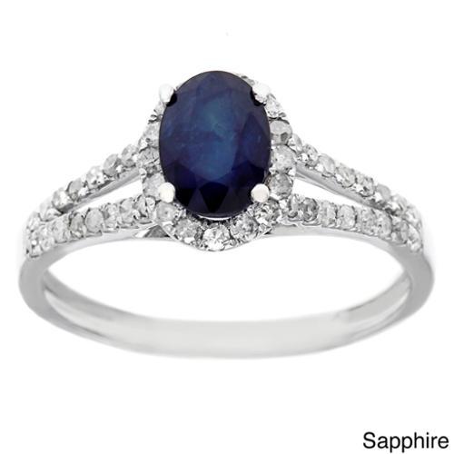 Viducci 10k White Gold 1 2ct TDW Diamond and Genuine Multi-gemstone Ring (G-H, I1-I2) Sapphire size 6.5 by Overstock