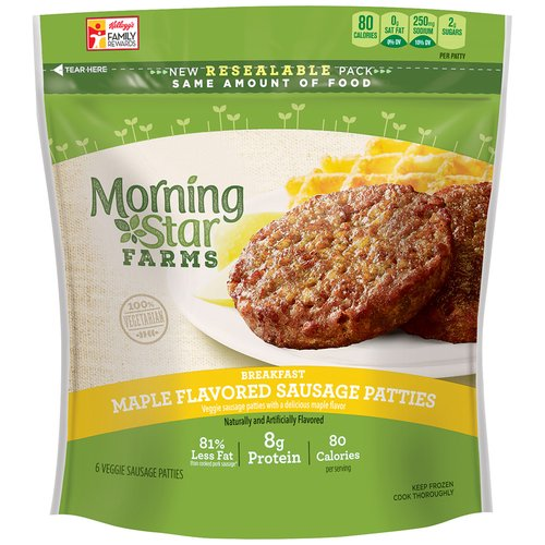 Morning Star Farms Breakfast Maple Flavored Sausage Veggie Patties, 6 count, 8 oz