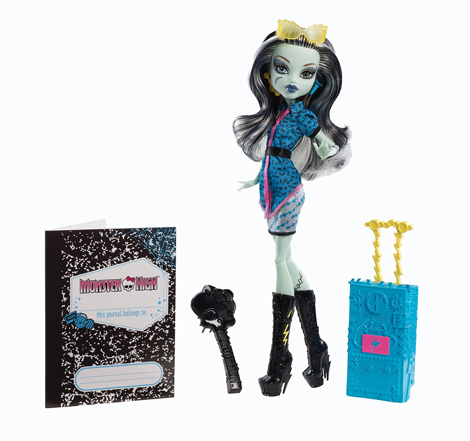 Travel Scaris Frankie Stein Doll, gift Discontinued New Rev HairRaising Frankie BrandBoo Electrified Scaremester Calaveras Reef DeMew Students Dolls Deluxe Child.., By Monster High