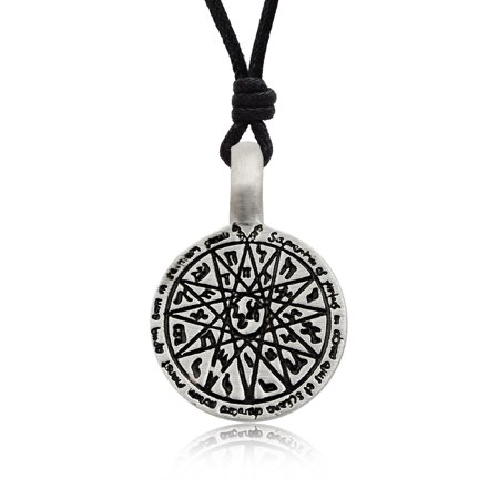 Hebrew Astorlogy Wheel Silver Pewter Charm Necklace Pendant Jewelry With Cotton Cord