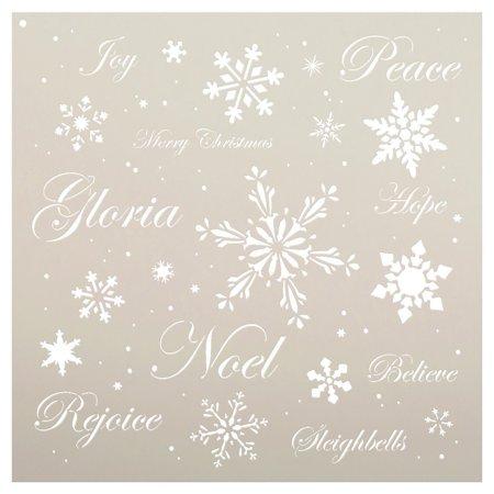 Christmas Words & Snowflakes Stencil by StudioR12 | Elegant