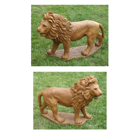 Set of 2 Majestic Lion Cast Stone Concrete Outdoor Garden Statues ()