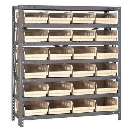 Bin Shelving,Solid,36X18,24 Bins,Ivory QUANTUM STORAGE SYSTEMS 1839-108IV