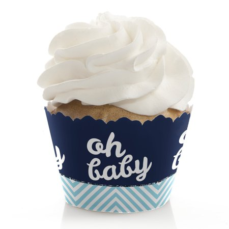 Hello Little One - Blue and Silver - Boy Baby Shower Cupcake Wrappers - Set of 12