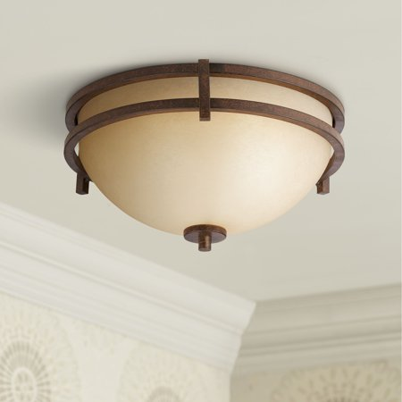 Franklin Iron Works Mission Flush Mount Ceiling Light Fixture Rustic Bronze 15