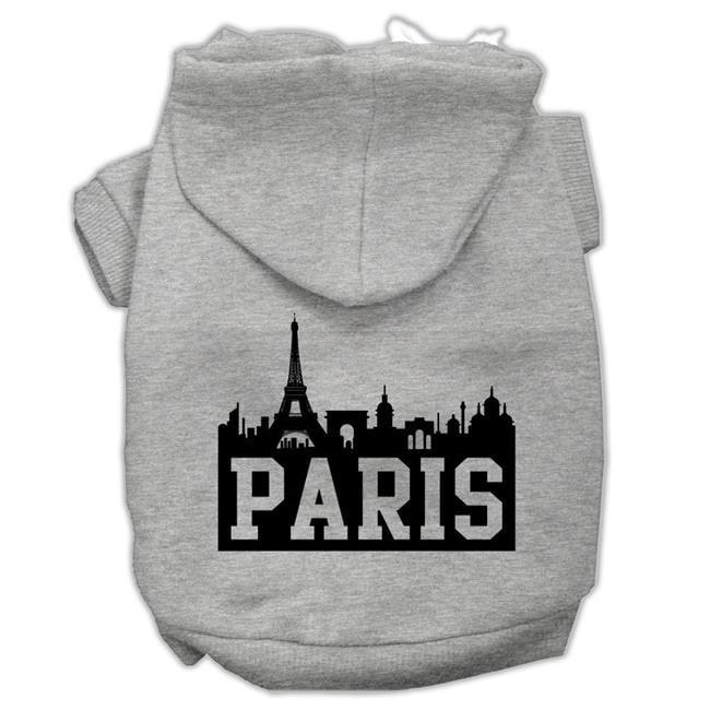 Paris Skyline Screen Print Pet Hoodies Grey Size Lg (14) - image 1 de 1