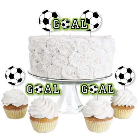 GOAAAL! - Soccer - Dessert Cupcake Toppers - Baby Shower or Birthday Party Clear Treat Picks - Set of 24 - Soccer Cupcake Toppers