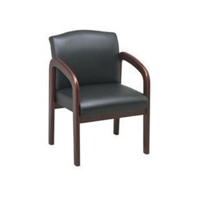 Office Star-Work Smart WD387-U6 Cherry Wood Visitor Chair with Black Triangle Fabric
