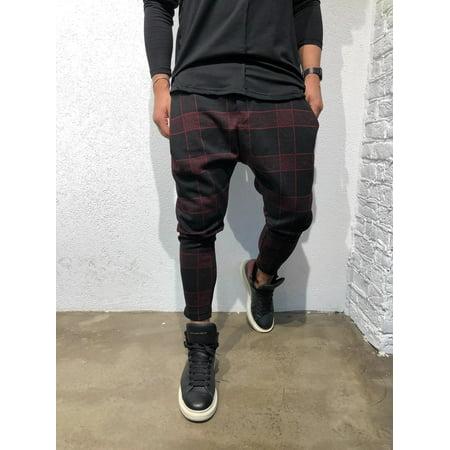 Mens Casual Slim Fit Plaid PANTS Straight Leg Trousers Pencil Jogger Cargo Pants Color Red Size M