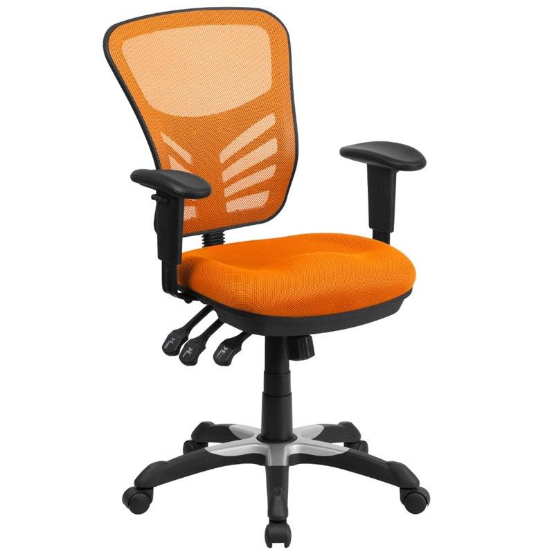 Scranton & Co Mid Back Mesh Swivel Office Chair in Orange
