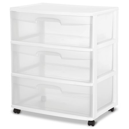 3 Lined Drawers (Sterilite, Wide 3 Drawer Cart, White, Available in Case of 1 or Single Unit )
