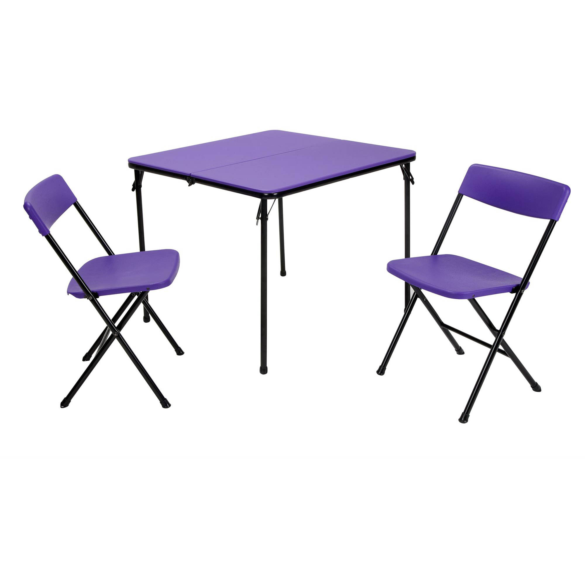Cosco 3-Piece Centerfold Table and 2 Chairs, Indoor Outdoor Tailgate Set, Multiple Colors by Cosco
