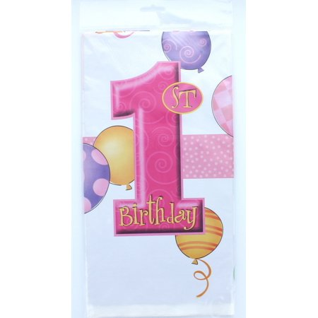 First Birthday Plastic Table Cover (Plastic Pink Balloons 1st Birthday Table Cover, 84