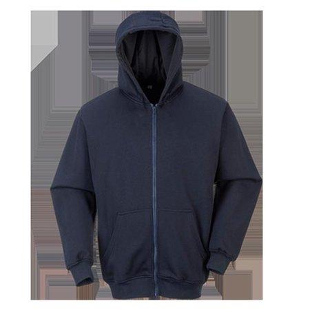 Portwest UFR81 5XL Flame Resistant Zippered Front Hooded Sweatshirt, Navy - Regular (Flame Resistant Hood)