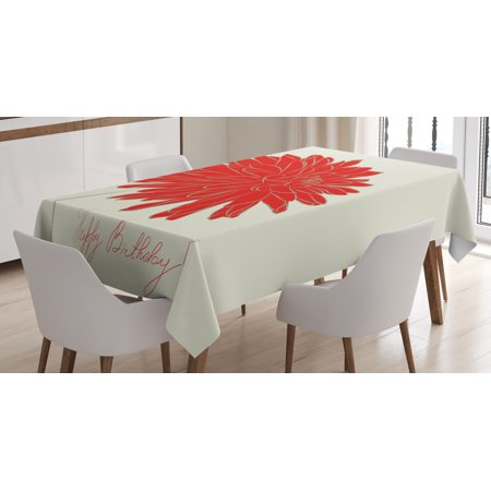 Dahlia Tablecloth, Sketching of a Colossal Dahlia Blossom Retro Style in Blood Red Colored Single Flower, Rectangular Table Cover for Dining Room Kitchen, 60 X 90 Inches, Red Tan, by Ambesonne (Retro Pack Single)