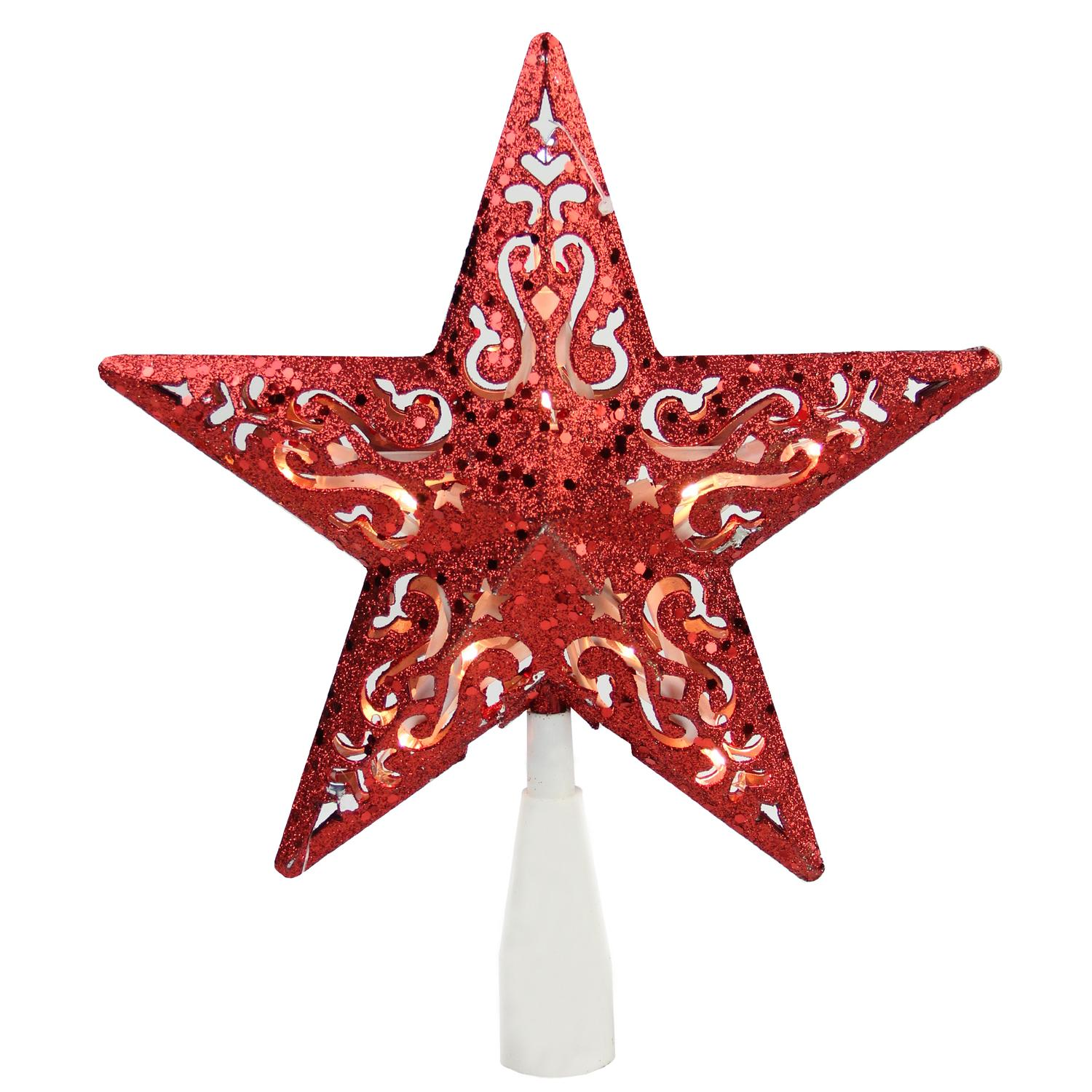 "8.5"" Red Glitter Star Cut-Out Design Christmas Tree Topper - Clear Lights"