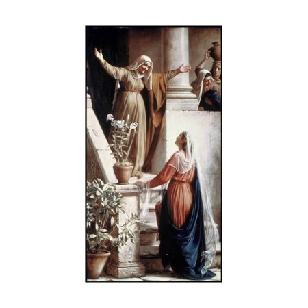 Pregnancy Art (The Visitation Bible Story Elizabeth pregnant with John the Baptist being visited by Mary Print Wall Art By Carl Bloch)