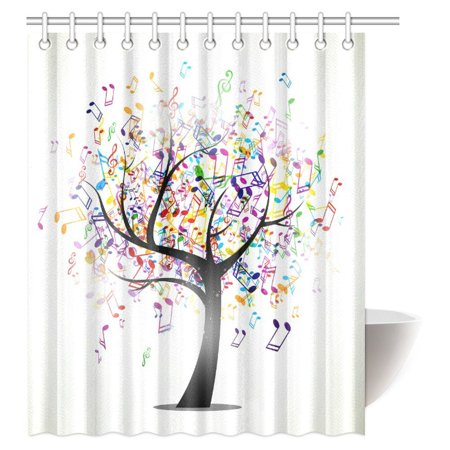 Mypop Music Shower Curtain Tree Of Life With Musical Notes Branch Hy Jolly Celebrating Fabric Bathroom Set Hooks 60 X 72