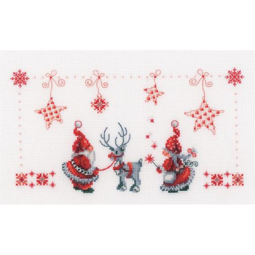 """Christmas Elves On Aida Counted Cross Stitch Kit, 11"""" x 6.75"""", 14-Count"""