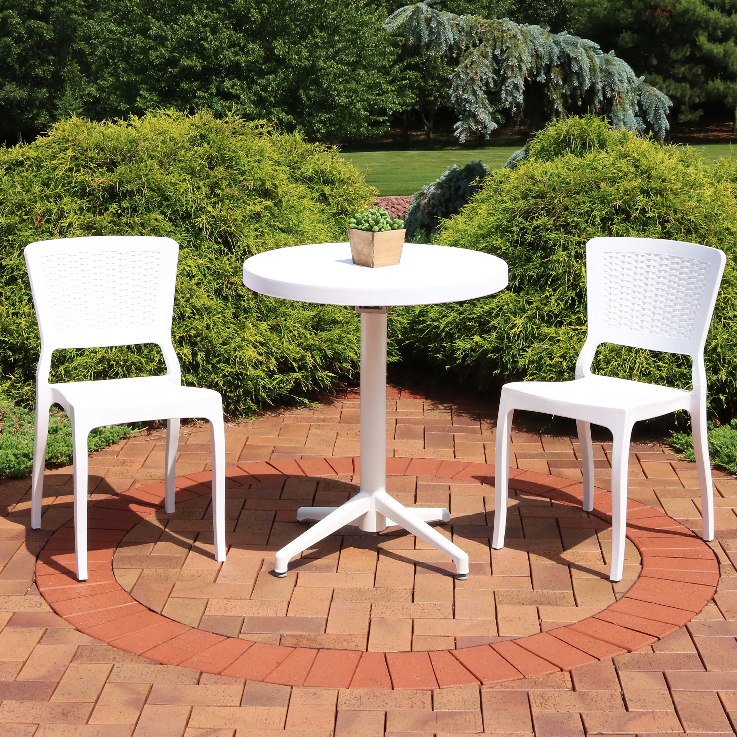Picture of: Sunnydaze All Weather Hewitt Outdoor 3 Piece Patio Furniture Dining Set Includes Round Table With Folding Top And 2 Chairs Commercial Grade Indoor Outdoor Use White Walmart Com Walmart Com