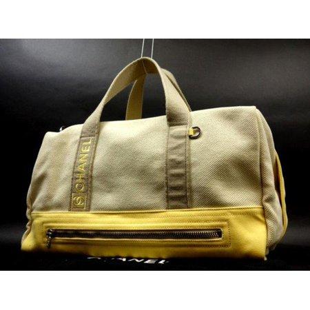 9ee07fcb89bb CHANEL Bicolor Boston Duffle 225371 Beige X Yellow Canvas Weekend/Travel Bag  - Walmart.com