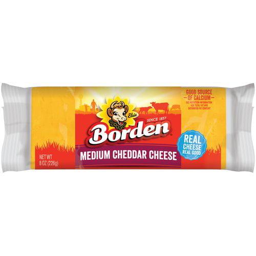 Borden Natural Medium Cheddar Cheese, 8 oz