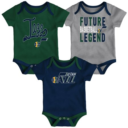 Utah Jazz Infant Champion Three-Piece Bodysuit Set - Navy/Green/Gray (Utah Jazz Onesie)