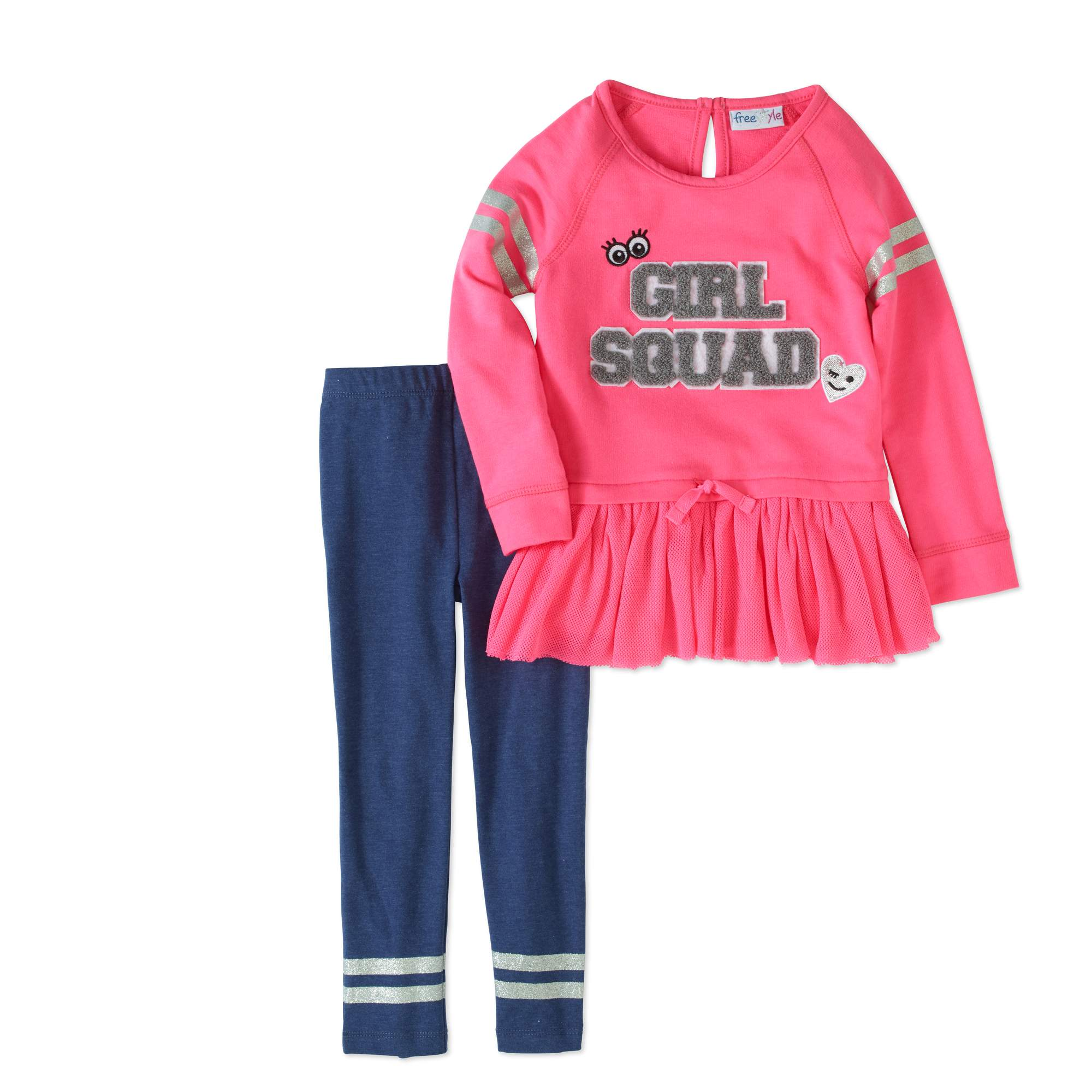 Freestyle Link Freestyle Toddler Girl Long Sleeve French Terry Peplum Top & Legging Outfit 2pc Set