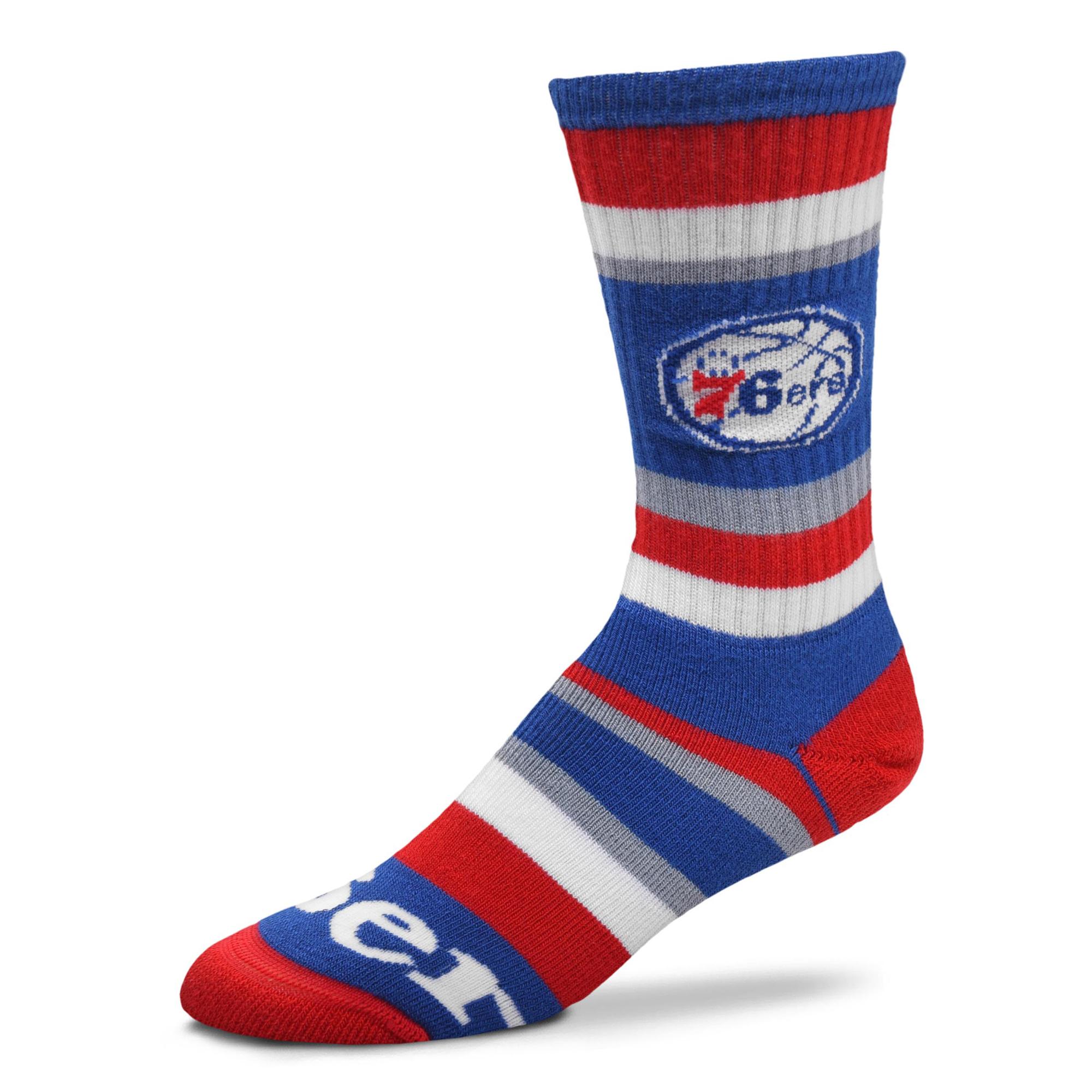 Philadelphia 76ers For Bare Feet Rainbow Stripe Tri-Blend Crew Socks - L