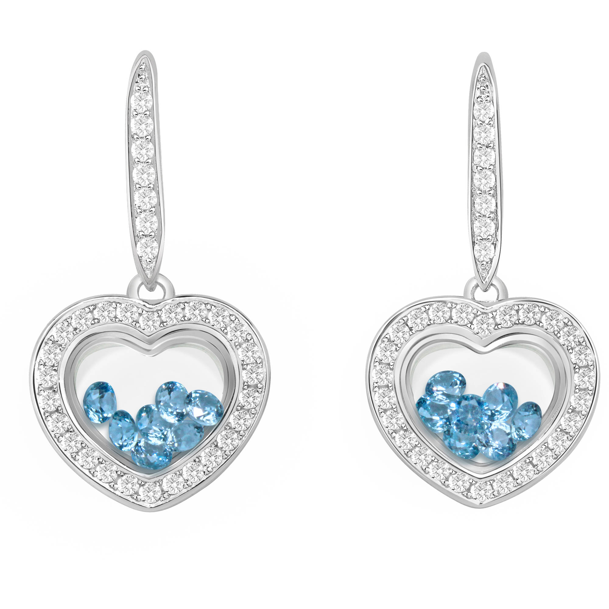 Chetan Collection Floating Light Blue CZ Sterling Silver Designer Heart-Shape Earrings