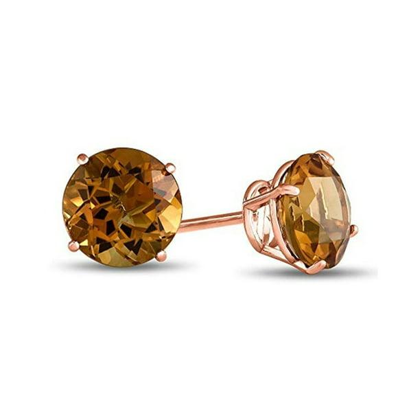 Iparis 14k Rose Gold Round 4 Ct Citrine Stud Earrings Walmart Com Walmart Com