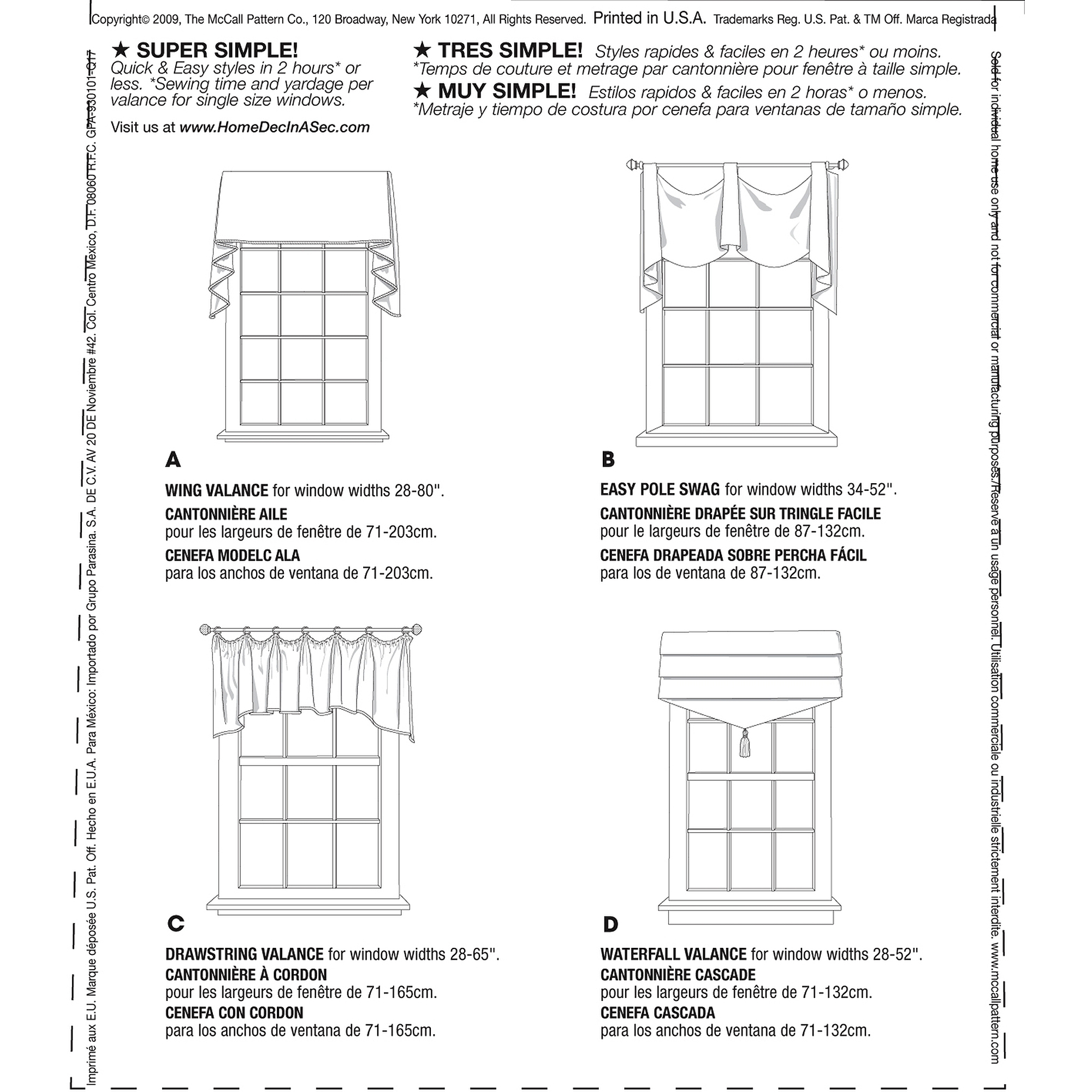 McCall's Patterns M5872 Window Treatments, All Sizes
