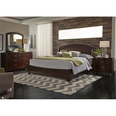 Avalon Set Bed (Liberty Furniture Avalon 4 Piece Queen Panel Bedroom Set in Truffle)