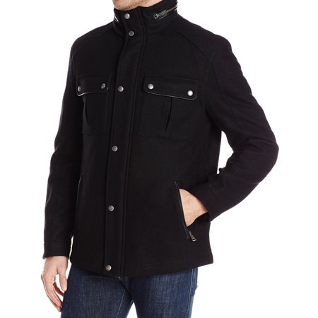 Mens Small Faux-Leather Trim Jacket Wool S (Cole Haan Mens Faux Leather Puffer Coat)