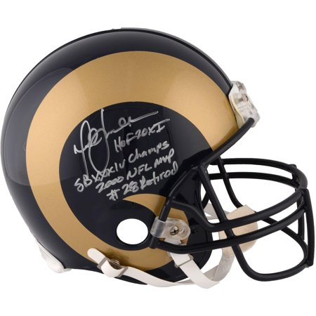 Marshall Faulk St. Louis Rams Autographed Riddell Throwback Pro-Line Helmet with Multiple Inscription - Limited Edition of 28 - Fanatics Authentic Certified