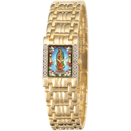 Women's Our Lady of Guadalupe Square Diamond Bracelet Watch, Gold ()