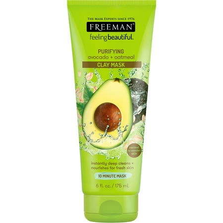 Freeman Feeling Beautiful Clay Face Mask, Purifying Avocado + Oatmeal, 6 fl oz - Animal Face Masks For Adults