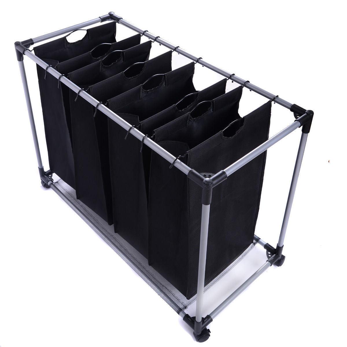 Black Heavy-Duty 4-Bag Laundry Sorter Hamper Clothes Organizer by