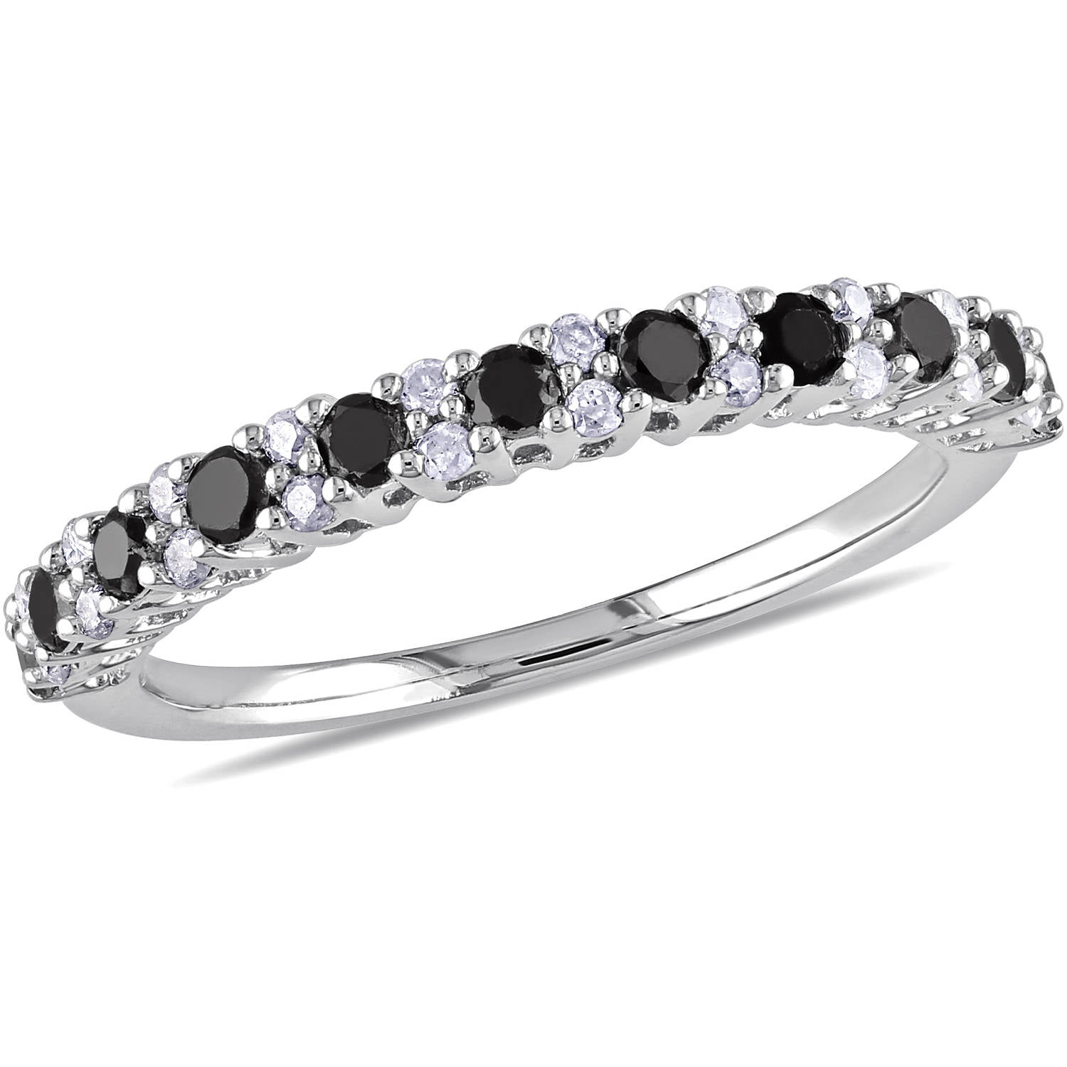 1 2 carat t w diamond three stone 14kt white gold ring walmart