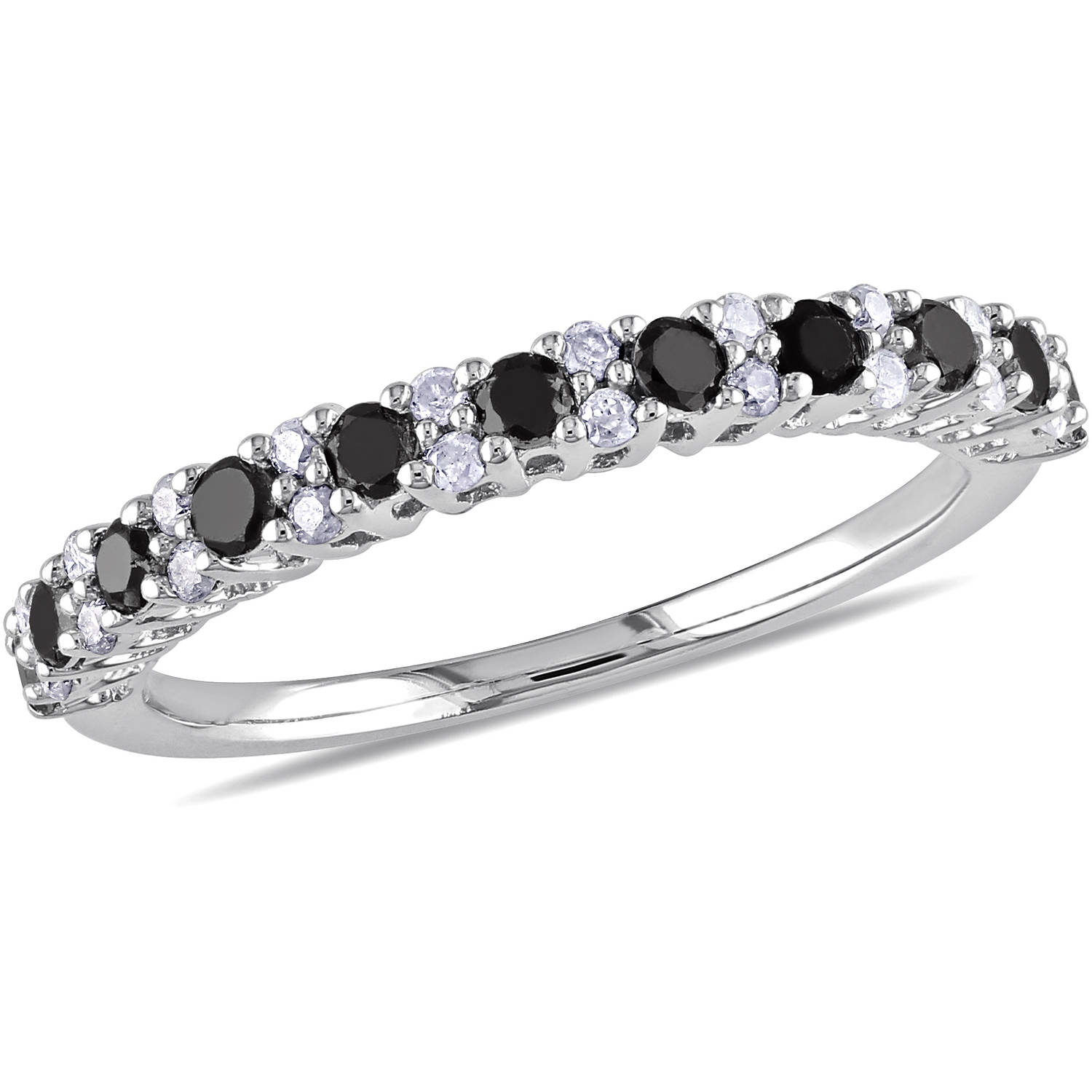 1/2 Carat T.W. Round Black and White Diamond Eternity Ring in Sterling Silver
